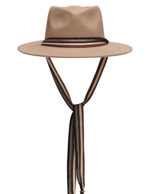 Avenue Accessories Westview Classic Fedora - 100% Australian Wool - Tan with Lurex  Ribbon - Adjustable