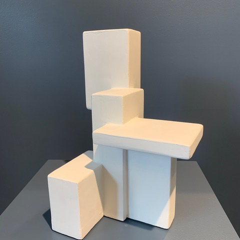 Dan Schneiger Composition 14.4 - Dan Schneiger Geometric Free Standing Sculpture - White Resin Coated Recycled Materials - H33 x W27 x D20cm - Miami, Florida.