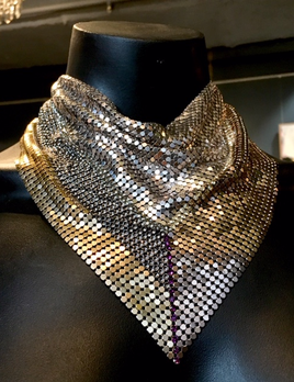 Laura B LAURA B - Jeanne Bandana Necklace - Gold and Silver Mesh - Handmade in Spain