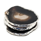 Agate Coasters - with Silver Plated Edge - Black/Brown Set of 4