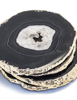 Nativa Gems Agate Coasters with Gold Plated Edge - Black/Brown - Set of 4