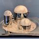 Rablabs Amara Tea Set - Creamer, Sugar Bowl, Teapot and Tray - Alalabaster with Stainless Steel - Italy