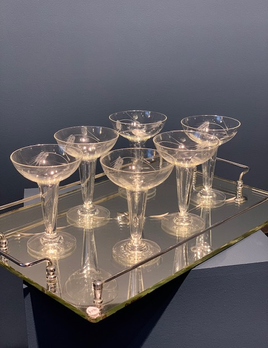 Vintage Set of Six 6 Hollow Stem Etched Champagne Coupes