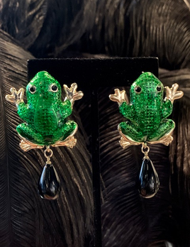 Dragan Collection Green Frog Earrings with Black Tear Drop - Turkey