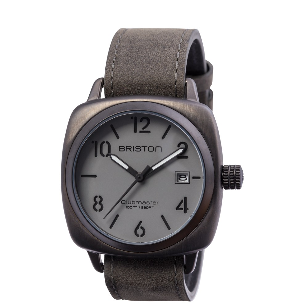 Flying Standard Briston Watch - Clubmaster Classic Steel HMS Gun - Vintage Black NATO Leather Strap