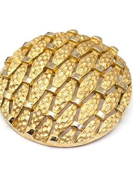 BECKER MINTY Vintage Gold Toned Brooch - Large round c1960