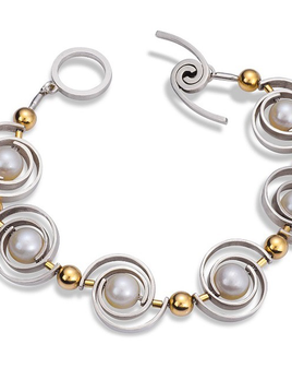 Martha Seely Martha Seely Design - INSPIRO Articulating Two Tone Pearl Bracelet.