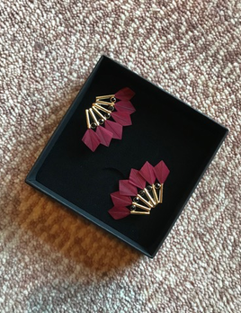 Stalactite Bo Parrot Feather Earrings - Red - Gold Plated - Paris