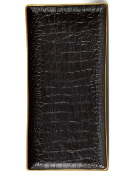 L'Objet L'Objet - Black Crocodile Rectangular Tray - Porcelain with 24ct Gold Detail -  30x15cm