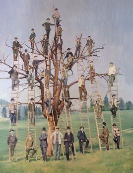 James King - Men in Trees H120x100cm  - 2018