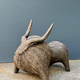 Athena Jahantigh Small Bison - Matte Brown Ceramic with Textured Finish - Athena Jahantigh Animal Scultpure - France - Approx H25xL30cm