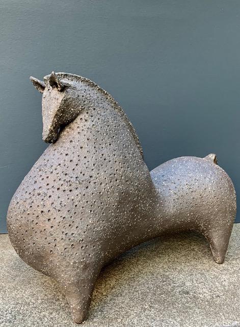Athena Jahantigh Large Horse - Matte  Brown Ceramic with Spots - Athena Jahantigh Animal Scultpure - France - Approx H48xL55cm