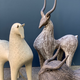Athena Jahantigh Small Horse - Matte Cream Ceramic with Cross Detail - Athena Jahantigh Animal Scultpure - France - Approx H38x L28cm