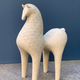 Athena Jahantigh Medium Horse - Matte Cream Ceramic with Cross Detail - Athena Jahantigh Animal Scultpure - France - Approx H44xL33cm