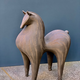 Athena Jahantigh Small Horse - Matte Brown Ceramic with Stripes - Athena Jahantigh Animal Scultpure - France - Approx H35x L30cm