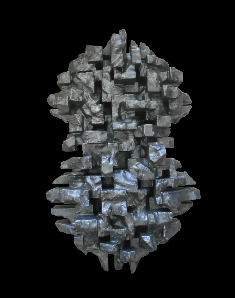 Dan Schneiger Wall Sculpture Composition 8.3 - Dan Schneiger Geometric Wall Standing Sculpture - Pewter Finish  Resin Coated Mixed Media Recycled Materials - 66x122cm (approx) - Miami, Florida.