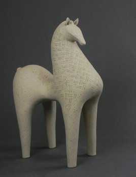 Athena Jahantigh Small Horse - Matte Cream Ceramic with Cross Detail - Athena Jahantigh Animal Scultpure - France - Approx H38x L28cm