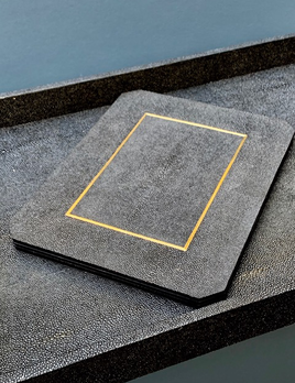 BECKER MINTY Placemats - Black Embossed Shagreen and Brass - Per Piece - 30x 23x 0.6Hcm