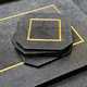 BECKER MINTY Coasters - Black Embossed Shagreen with Brass - Per Piece - 10x10x0.6Hcm