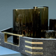BECKER MINTY Octagonal Tray - Black Embossed Shagreen with Brass - 50.5x50.5x5cm