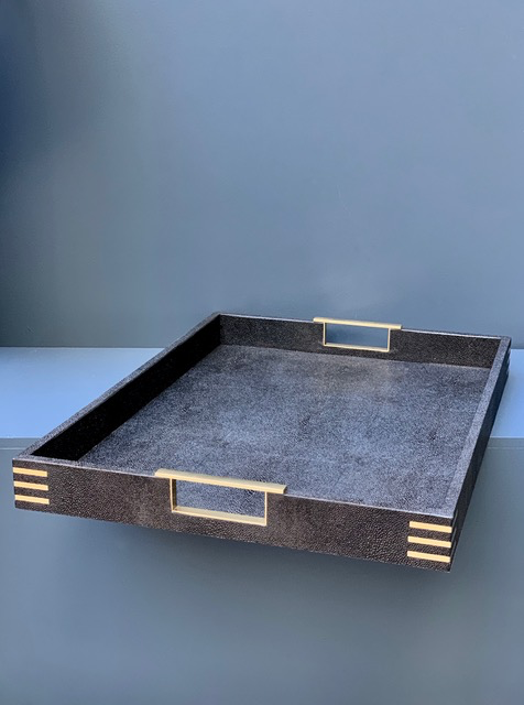 BECKER MINTY Rectangular Serving Tray - Black Embossed Shagreen with Brass - 55.5x40x5cm