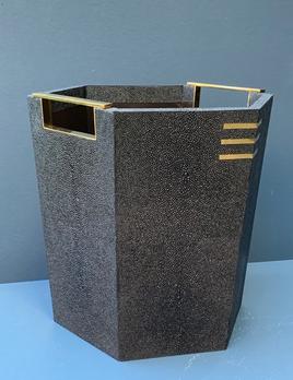 BECKER MINTY Waste Bin - Black Embossed Shagreen with Brass - 28.5x 28.5x27H cm