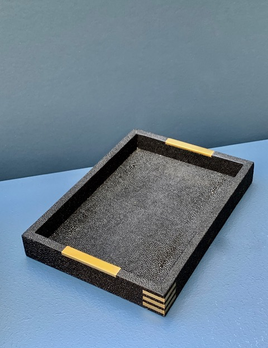 BECKER MINTY Desk Tray - Black Embossed Shagreen with Brass 25x18x3cm