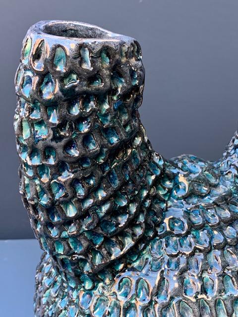 Vintage Brutalist Ceramic Vase - Teal Blue - USA W20 H27 D20 cm