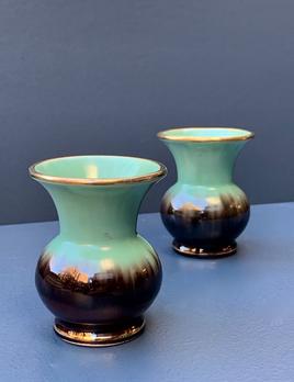 Vintage Pair of Green Ceramic Urn Vases - Small
