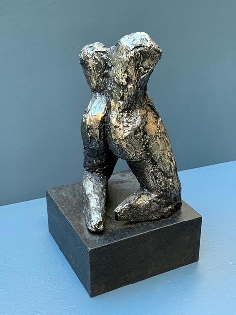 Thomas Bucich - Kneeling Shadow II - Electroplated Nickel, Wood Base - 28H x 15W x 15D