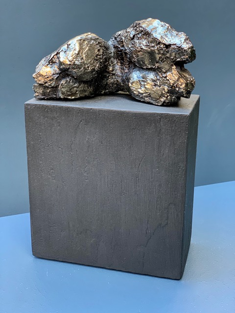 Thomas Bucich - Torso Landscape I - Electroplated Nickel, Wood Base - 29.5H x 19W x 9.5D