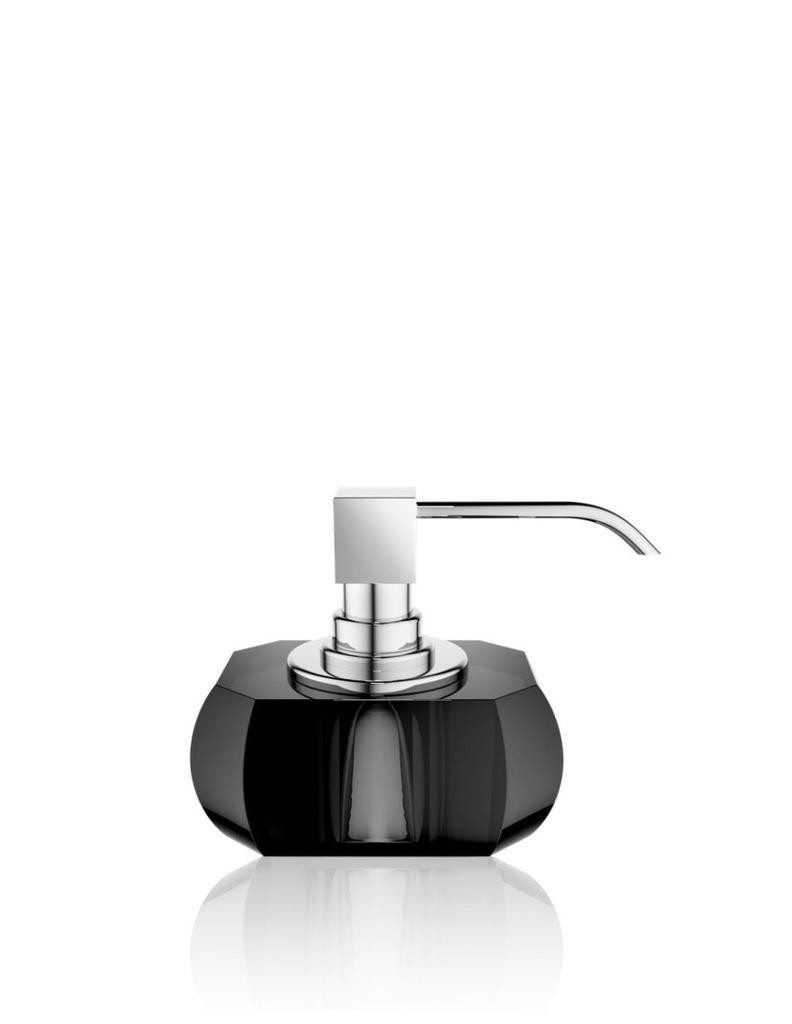 DW - Crystal Bathroom Accessories - Soap Dispenser Chrome Pump - Anthracite - 12x13x9cm - Germany