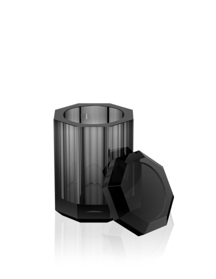 DW - Crystal Bathroom Accessories - Multi Box with Lid - Anthracite - 12x13x9cm - Germanyhome