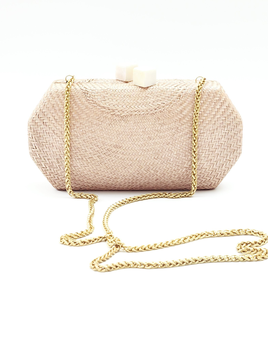 Likha Sarsuela Handwoven Clutch with Gold Chain- Taupe