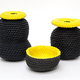 2 by lyn and tony GRAPHICA - Small Ceramic Dipped Woven Cotton Handpainted Vessel by 2 by Lyn&Tony - Black with Yellow Interior - 4x8cm