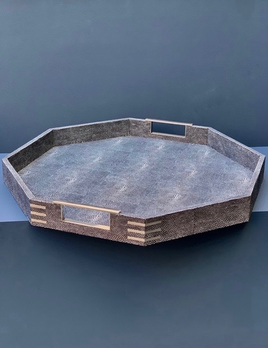 BECKER MINTY Octagonal Tray - Charcoal Embossed Shagreen with Polished Stainless Steel - 50.5x 50.5x5.2cm