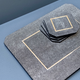BECKER MINTY Placemats - Charcoal Embossed Shagreen with Polished Stainless Steel - Per Piece - 30x23 x 0.6H cm