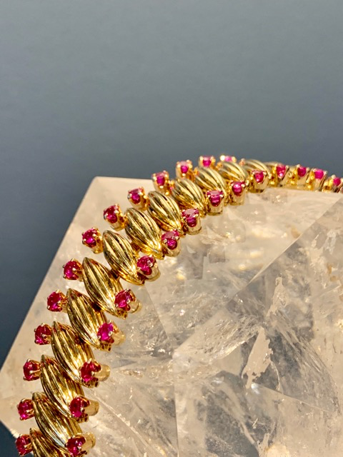 Vintage 18ct Yellow Gold and Ruby Bracelet - 62 Round Cut Rubies (approx 8cts) - c1960