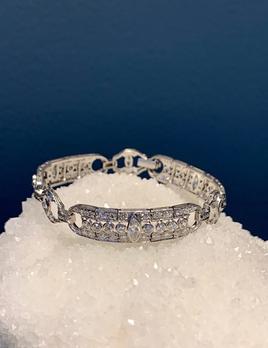 Vintage American Art Deco Platinum and Diamond Bracelet  - 6 Marquis Cut Diamonds approx 1ct, Balance Old Cut Diamonds approx 3.75ct - c1930s