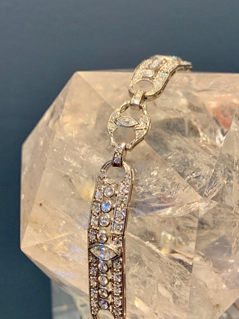Vintage American Art Deco Platinum and Diamond Bracelet  - 6 Marquis Cut Diamonds approx 1ct, Balance Old Cut Diamonds approx 3.75ct - c1930s