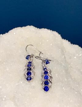 Vintage Platinum, Sapphire and Diamond Earrings - Sapphire approx 2cts, 34 Diamonds approx 0.6cts - c1950