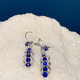 Vintage Platinum, Sapphire and Diamond Earrings - Sapphire approx 2cts, 34 Diamonds approx 0.6cts - c1950
