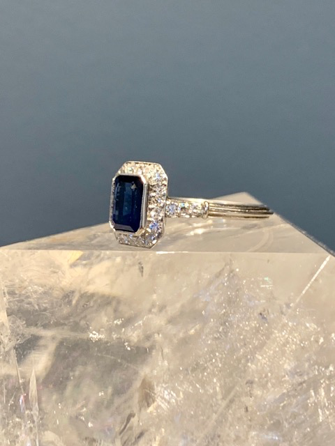 Belle Epoque Style Platinum, Sapphire and Diamond Ring - Emerald Cut Saphirre 1.81cts, Diamonds approx 0.35cts - Contemporary