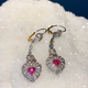 Belle Epoque Style Platinum Unheated Burmese Pink Sapphire and Diamond Earrings - Sapphire 1.3cts, Diamonds 1.1cts - Contemporary