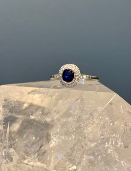 Belle Epoque Style Platinum, Sapphire and Diamond Ring - Oval Sapphire 0.68cts, Diamonds 0.20cts - Contemporary