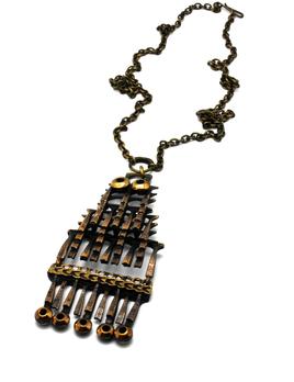 Vintage Modernist Bronze Pendant - Pentti Sarpaneva (1925 – 1978) - H9 cm, W4.5 cm, chain 64 cm. Weight 57g - Finland c1970