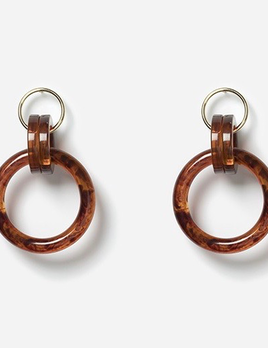 Chic Alorsi Chic Alorsi - Tina Earrings - Resin Tortoise Shell Rings - 24ct Gold Plated - Paris