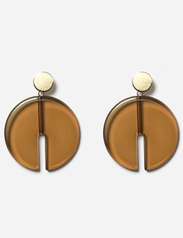 Chic Alorsi Chic Alorsi - Vera Earrings - Toffee Resin Disc - 24ct Gold Plated - Paris