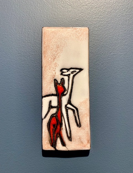 Vintage Ceramic Wall Tile - Deer Motif - 18x7cm- c1970