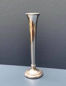Vintage Silver Plate Slim Bud Vase - Signed ATC - H17cm - UK 1969